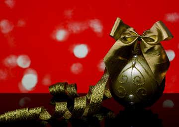 Christmas balls and ribbon with reflection №48198