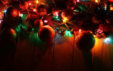 Christmas garland on a wooden background №48177