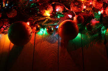 Christmas garland on a wooden background №48179