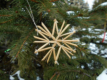 Stars of straw on the Christmas tree №48533
