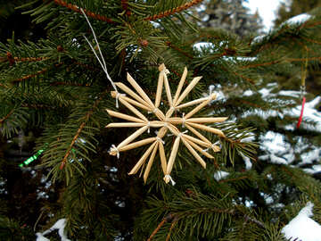 Stars of straw on the Christmas tree №48534