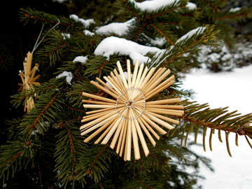 Stars of straw on the Christmas tree №48538