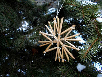 Stars of straw on the Christmas tree №48540