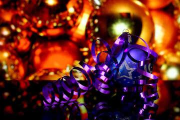 Christmas balls and ribbon with reflection №48199