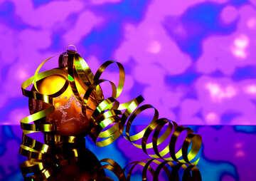 Christmas balls and ribbon with reflection №48200