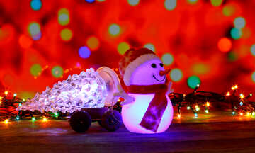 Christmas snowman Christmas tree drags in the cart №48108