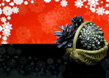Christmas background with natural ornaments №48191