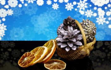 Christmas background with natural ornaments №48192