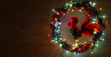 Christmas wreath with a cock background with space for text №48032