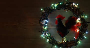 Christmas wreath with a cock background with space for text №48034