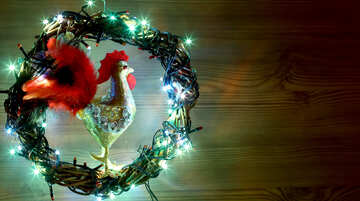 Christmas wreath with a cock background with space for text №48039