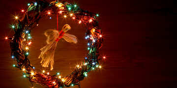 Christmas wreath with a cock background with space for text №48046