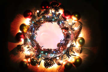 Christmas wreath background with space for text №48048