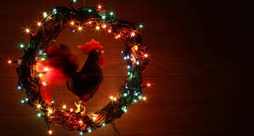 Christmas wreath with a cock background with space for text №48037