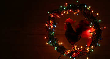 Christmas wreath with a cock background with space for text №48038