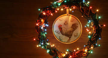 Christmas wreath with a cock background with space for text №48042