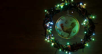 Christmas wreath with a cock background with space for text №48043