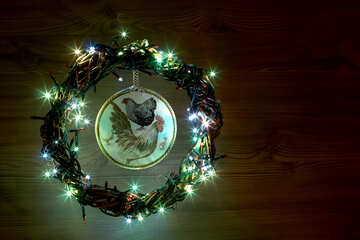 Christmas wreath with a cock background with space for text №48044