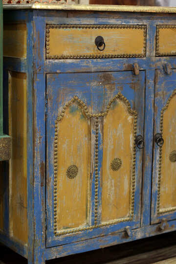 Vintage  old wooden cabinet cupboard dresser. It is yellow and blue retro style №48760