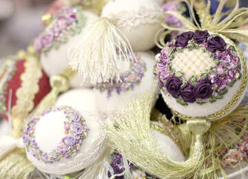 Eggs embroidered ribbons №48652
