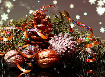 Christmas background with natural ornaments №48183