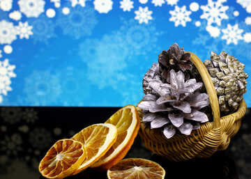 Christmas background with natural ornaments №48193