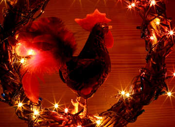Background card with a new year of the rooster №48036