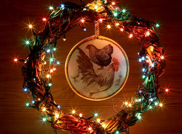Background card with a new year of the rooster №48045