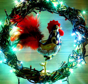 Background card with a new year of the rooster №48028