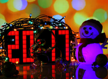 Christmas picture with the numbers 2017 and a snowman №48089