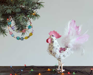 White rooster symbol of the year 2017 Handmade Christmas tree №48006