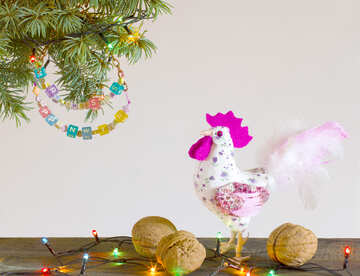 White rooster symbol of the year 2017 Handmade Christmas tree №48008