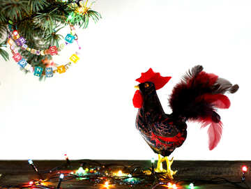 Red Rooster symbol of the year 2017 isolated on a black background №48017