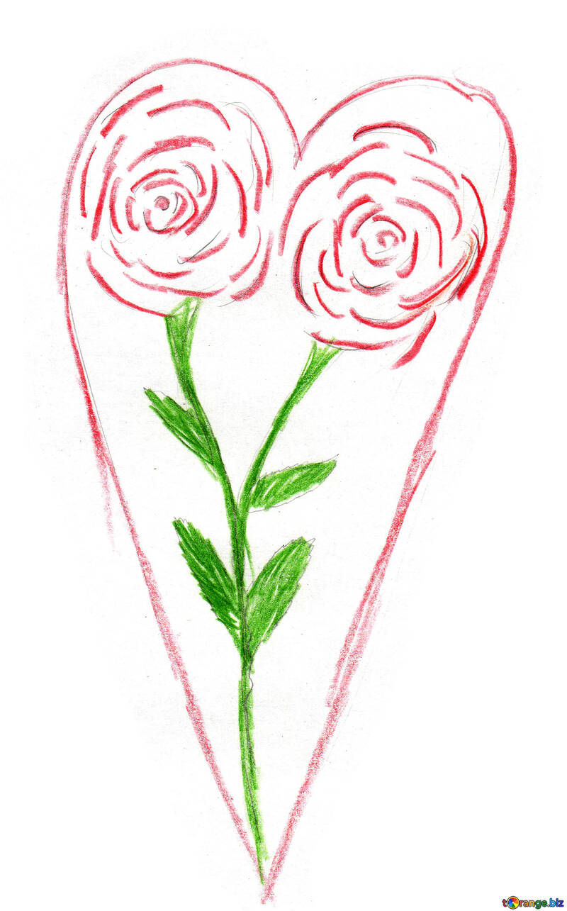 Розы в сердечке №48236