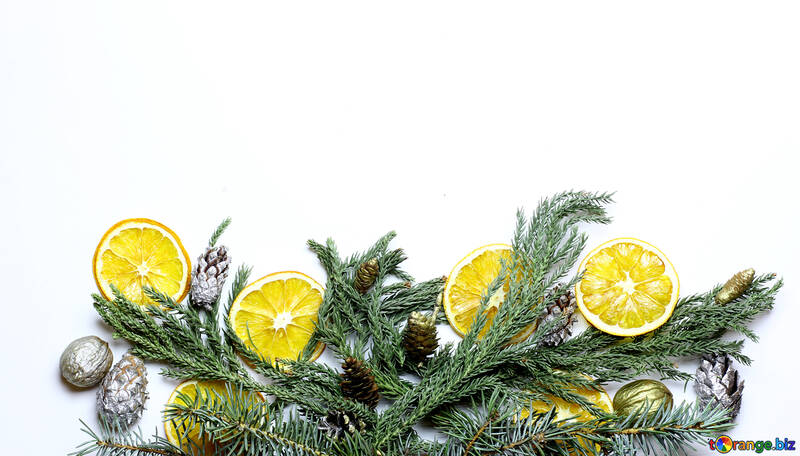 Christmas wreath with tangerines №48202