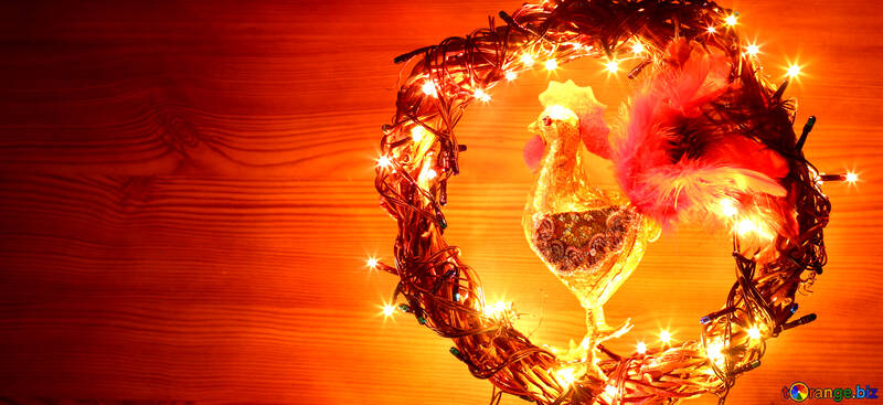 Christmas wreath with a cock background with space for text №48040