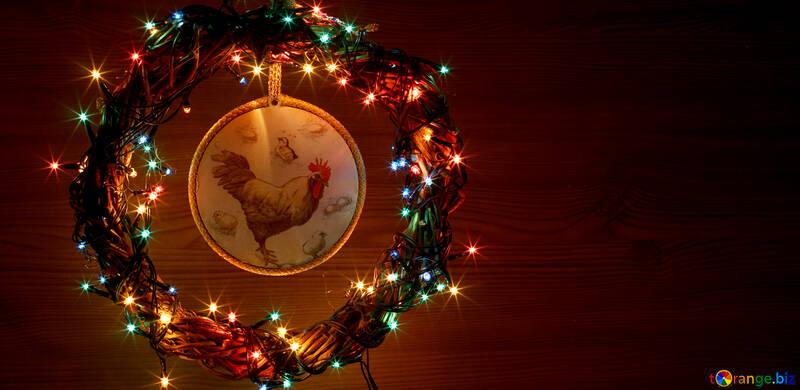 Новогодний венок с петухом фон с местом для текста №48041