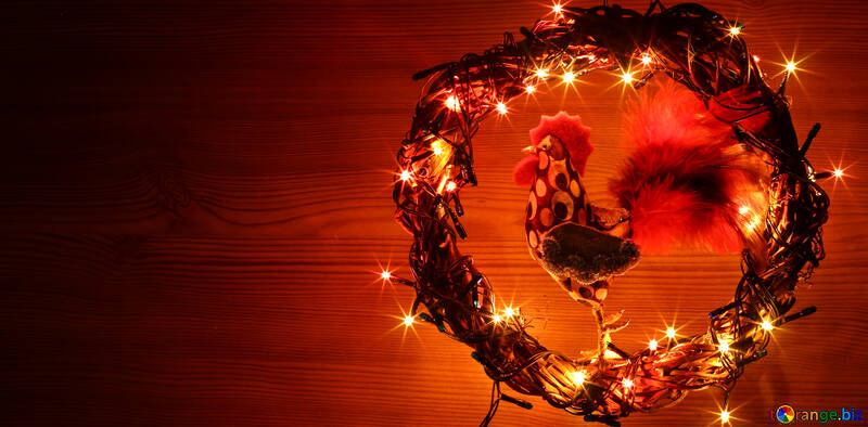 Christmas wreath with a cock background with space for text №48027