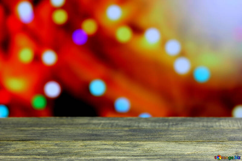 Clean wooden table with blurred background New Year №48071