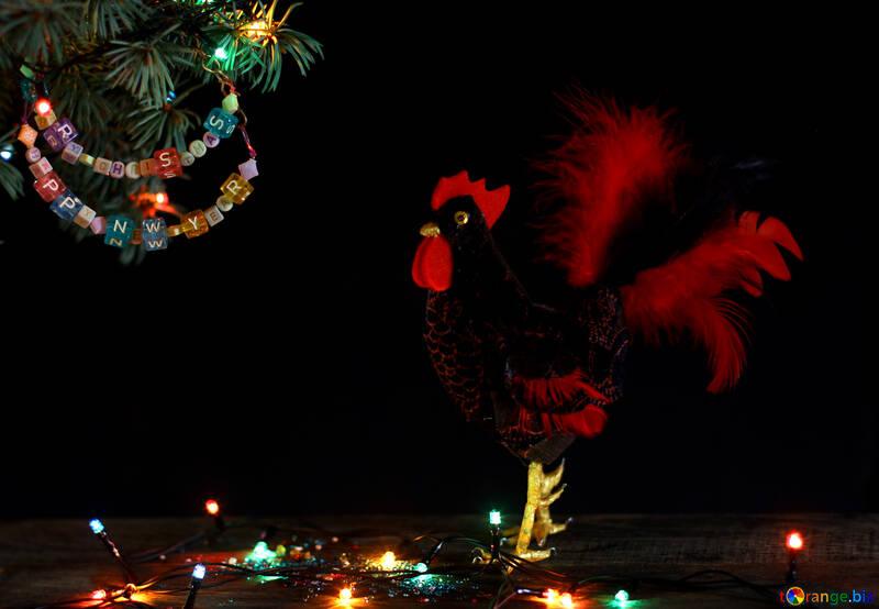 Red Rooster Symbol des Jahres 2017 isoliert auf einem schwarzen Hintergrund №48013