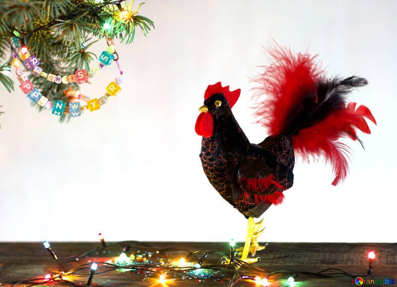 Red Rooster Symbol des Jahres 2017 isoliert auf einem schwarzen Hintergrund №48016
