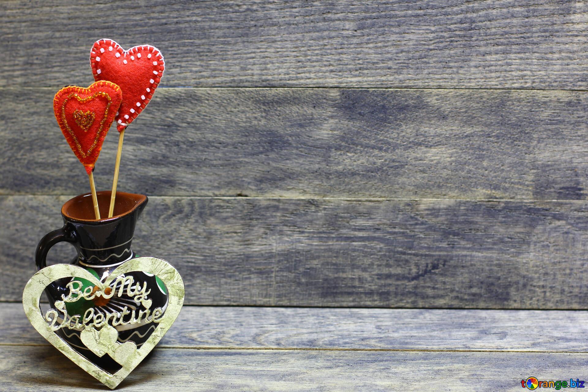 Valentine De Fait Main L Amour De Fond Avec Un Coeur D Or