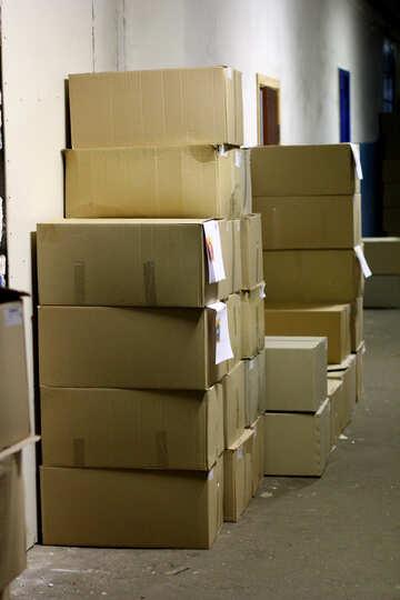 boxes pile  in a corridor №49421