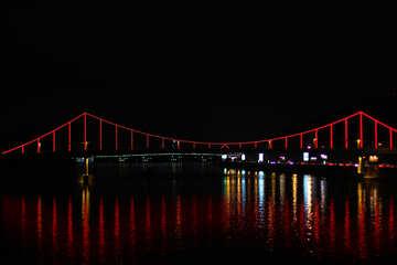 Pedestrian bridge in Kiev with colored lights №49376