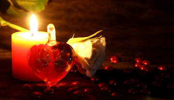Candle and a heart of glass №49213