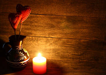 Candle and love heart
