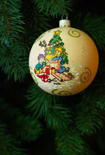 Рождественский шар нового года на дереве №49391