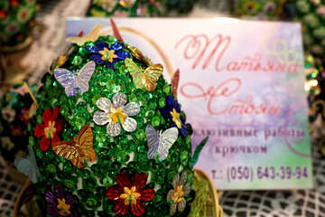 Easter egg decorated with sequins №49176