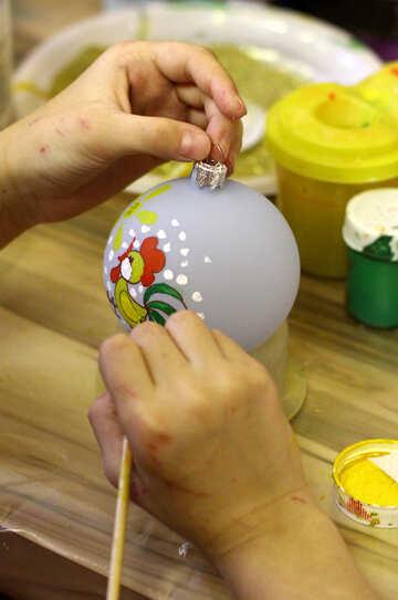 Ручная работа рисунок на рождественских шарах №49404