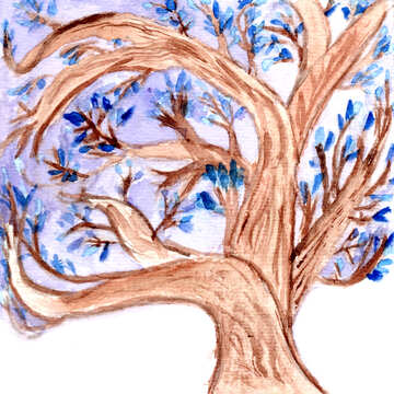 Watercolor tree  №49601